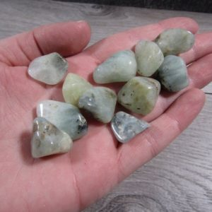 Shop Tumbled Prehnite Crystals & Pocket Stones! Prehnite Small / Medium Tumbled Stone T104 | Natural genuine stones & crystals in various shapes & sizes. Buy raw cut, tumbled, or polished gemstones for making jewelry or crystal healing energy vibration raising reiki stones. #crystals #gemstones #crystalhealing #crystalsandgemstones #energyhealing #affiliate #ad