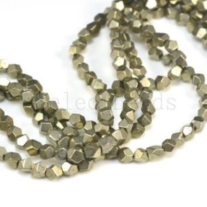 pyrite nugget beads – small nuggets beads – spacer beads –  pyrite beads wholesale – faceted nugget beads – size  4x5mm,  5x6mm – 15 inch | Natural genuine chip Pyrite beads for beading and jewelry making.  #jewelry #beads #beadedjewelry #diyjewelry #jewelrymaking #beadstore #beading #affiliate #ad