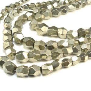 pyrite nuggets beads -graduated faceted nugget beads – faceted gemstone beads – chunky nuggets beads – faceted beads wholesale – 15 inch | Natural genuine chip Pyrite beads for beading and jewelry making.  #jewelry #beads #beadedjewelry #diyjewelry #jewelrymaking #beadstore #beading #affiliate #ad