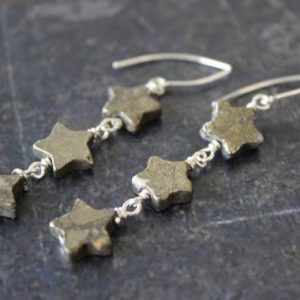 Shop Pyrite Earrings! Pyrite Star Earrings, Long Star Dangle Earrings, Star Earrings, Sterling Silver Star, Pyrite Star, Star Jewelry, Celestial Jewelry | Natural genuine Pyrite earrings. Buy crystal jewelry, handmade handcrafted artisan jewelry for women.  Unique handmade gift ideas. #jewelry #beadedearrings #beadedjewelry #gift #shopping #handmadejewelry #fashion #style #product #earrings #affiliate #ad