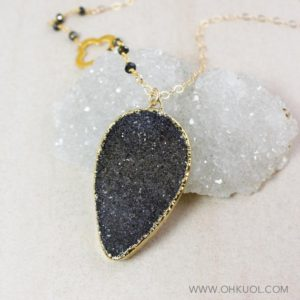 Shop Pyrite Necklaces! 50% OFF SALE – Black/Grey Druzy Necklace, Clover Charm, Black Pyrite Chain | Natural genuine Pyrite necklaces. Buy crystal jewelry, handmade handcrafted artisan jewelry for women.  Unique handmade gift ideas. #jewelry #beadednecklaces #beadedjewelry #gift #shopping #handmadejewelry #fashion #style #product #necklaces #affiliate #ad