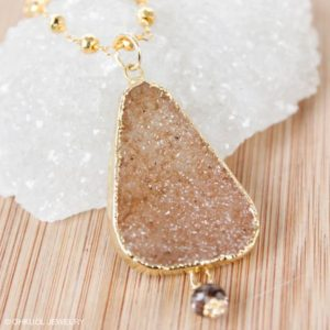 Shop Pyrite Necklaces! 50% OFF SALE – Peach Orange Druzy Necklace, Free Form Gemstone, Gold Pyrite Chain, Metallic Gold, Champagne Druzy | Natural genuine Pyrite necklaces. Buy crystal jewelry, handmade handcrafted artisan jewelry for women.  Unique handmade gift ideas. #jewelry #beadednecklaces #beadedjewelry #gift #shopping #handmadejewelry #fashion #style #product #necklaces #affiliate #ad