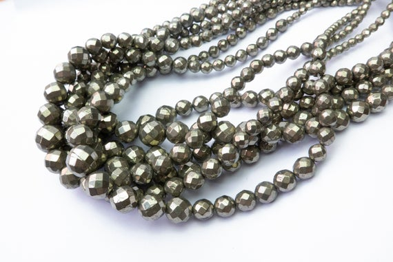 Pyrite Graduation Beads - Faceted Round Graduation Necklace Beads -  Faceted Stones For Jewelry Making - 12-4mm Graduated Beads -15inch