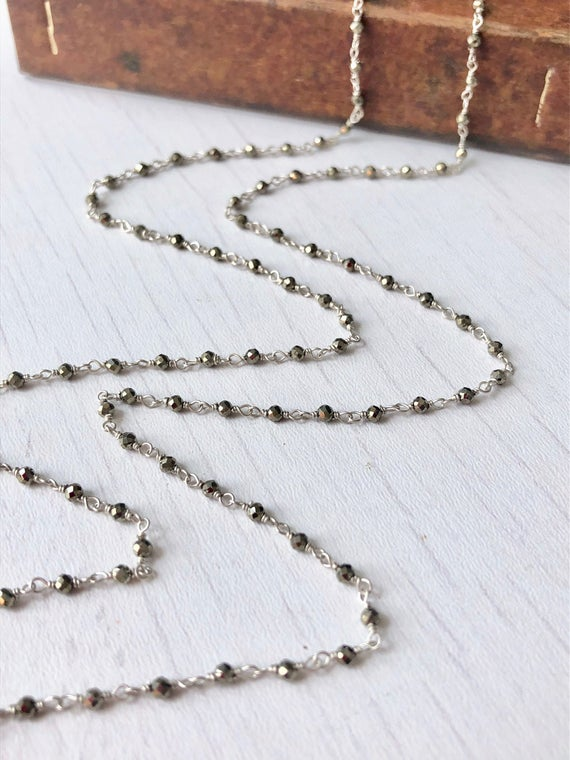 Pyrite Necklace, Long Pyrite Beaded Silver Necklace, Metallic Silver Layering Rosary Chain, Neutral Minimalist Boho Necklace, Gift For Her
