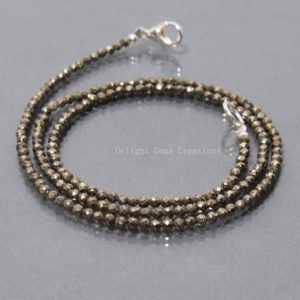 Shop Pyrite Jewelry! Natural Golden Pyrite Beaded Necklace, 2.5mm Pyrite Micro Faceted Beads Necklace, Party-Wear Dainty Girl Necklace, Pyrite Necklace 16- 36"