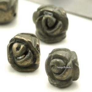 Shop Pyrite Bead Shapes! 9x6mm Iron Pyrite Gemstone Carved Rose Flower 9x6mm Loose Beads 10 Beads (90189903-92) | Natural genuine other-shape Pyrite beads for beading and jewelry making.  #jewelry #beads #beadedjewelry #diyjewelry #jewelrymaking #beadstore #beading #affiliate #ad