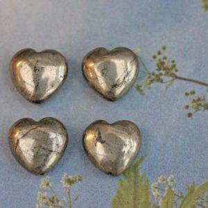 Natural Gemstone Pyrite hearts 12mm set of 4 beads GOLD PYRITE | Natural genuine other-shape Pyrite beads for beading and jewelry making.  #jewelry #beads #beadedjewelry #diyjewelry #jewelrymaking #beadstore #beading #affiliate #ad