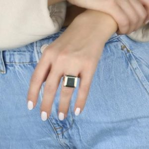 Shop Pyrite Rings! Fine Sterling Silver Pyrite Ring · Silver Pyrite Square Ring · Semiprecious Ring · Customize Cut Stone Ring · Engraved Ring | Natural genuine Pyrite rings, simple unique handcrafted gemstone rings. #rings #jewelry #shopping #gift #handmade #fashion #style #affiliate #ad