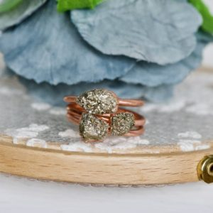 Shop Pyrite Rings! Raw Pyrite Ring, Fools Gold Ring, Copper Jewelry, Electroformed Ring, Raw Crystal Ring, Stackable Ring, Gift For Mom, Rough Pyrite Ring | Natural genuine Pyrite rings, simple unique handcrafted gemstone rings. #rings #jewelry #shopping #gift #handmade #fashion #style #affiliate #ad