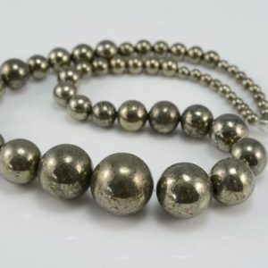 natural pyrite graduation beads – round pyrite gemstone beads –  graduated smooth round bead – tower gemstone strand beads – 15inch strand | Natural genuine beads Pyrite beads for beading and jewelry making.  #jewelry #beads #beadedjewelry #diyjewelry #jewelrymaking #beadstore #beading #affiliate #ad