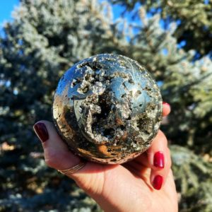 Shop Pyrite Shapes! Pyrite Sphere for Manifesting Wealth & Abundance – Solar Plexus Chakra | Natural genuine stones & crystals in various shapes & sizes. Buy raw cut, tumbled, or polished gemstones for making jewelry or crystal healing energy vibration raising reiki stones. #crystals #gemstones #crystalhealing #crystalsandgemstones #energyhealing #affiliate #ad