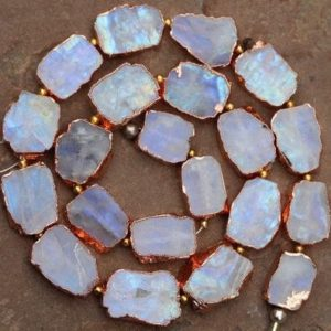 Shop Rainbow Moonstone Chip & Nugget Beads! 20 pieces smooth Fancy raw material copper plated electroplating gemstone rainbow moonstone rough beads 11 x 14 — 14 x 19 mm approx…   Natural genuine chip Rainbow Moonstone beads for beading and jewelry making.  #jewelry #beads #beadedjewelry #diyjewelry #jewelrymaking #beadstore #beading #affiliate #ad