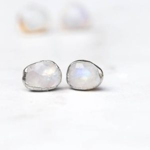 Rainbow Moonstone Earrings, Silver Earrings, Moonstone Jewelry, Statement Earrings, Large Moonstone Earrings, June Birthstone Earrings | Natural genuine Rainbow Moonstone earrings. Buy crystal jewelry, handmade handcrafted artisan jewelry for women.  Unique handmade gift ideas. #jewelry #beadedearrings #beadedjewelry #gift #shopping #handmadejewelry #fashion #style #product #earrings #affiliate #ad
