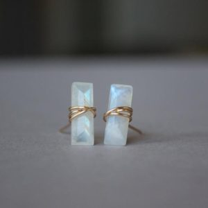 Shop Rainbow Moonstone Earrings! Rainbow Moonstone Earrings Studs, Moonstone Earrings Rose Gold, Sterling Silver, Gold Filled Rainbow Moonstone Stud Earrings June Birthstone   Natural genuine Rainbow Moonstone earrings. Buy crystal jewelry, handmade handcrafted artisan jewelry for women.  Unique handmade gift ideas. #jewelry #beadedearrings #beadedjewelry #gift #shopping #handmadejewelry #fashion #style #product #earrings #affiliate #ad