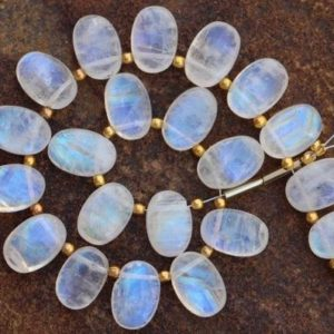 Natural, 20 piece smooth Rainbow white Moonstone OVAL gemstone beads 8×11 mm approx..Blue flash, 100% natural rainbow moonstone stone | Natural genuine other-shape Gemstone beads for beading and jewelry making.  #jewelry #beads #beadedjewelry #diyjewelry #jewelrymaking #beadstore #beading #affiliate #ad