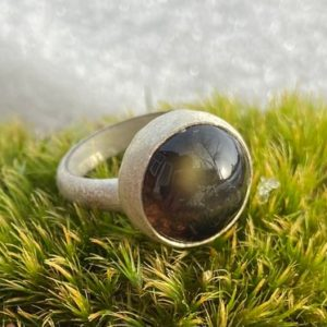 Shop Rainbow Obsidian Rings! Rainbow Obsidian Brushed Finish Statement  Ring | Natural genuine Rainbow Obsidian rings, simple unique handcrafted gemstone rings. #rings #jewelry #shopping #gift #handmade #fashion #style #affiliate #ad