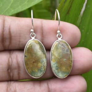 Shop Rainforest Jasper Earrings! Rainforest Jasper Earring – Sterling Silver Earring – Natural Rainforest Gemstone 12x22mm Oval Earring – Bezel Earring – Silver Earring Etsy | Natural genuine Rainforest Jasper earrings. Buy crystal jewelry, handmade handcrafted artisan jewelry for women.  Unique handmade gift ideas. #jewelry #beadedearrings #beadedjewelry #gift #shopping #handmadejewelry #fashion #style #product #earrings #affiliate #ad