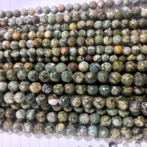 Shop Rainforest Jasper Beads! rhyolite  jasper beads – green gemstone –  faceted round beads – faceted round stone beads – jewelry making japser – forest style – 15inch | Natural genuine faceted Rainforest Jasper beads for beading and jewelry making.  #jewelry #beads #beadedjewelry #diyjewelry #jewelrymaking #beadstore #beading #affiliate #ad