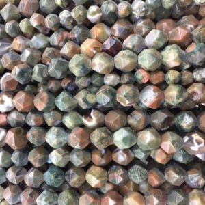 Shop Rainforest Jasper Beads! rhyolite jasper diamond shape beads – natural green stone faceted beads – craft supplies – loose stone beads – 6mm 8mm beads | Natural genuine other-shape Rainforest Jasper beads for beading and jewelry making.  #jewelry #beads #beadedjewelry #diyjewelry #jewelrymaking #beadstore #beading #affiliate #ad