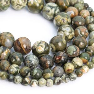 Shop Rainforest Jasper Beads! Genuine Natural Rhyolite Loose Beads Round Shape 6mm 8mm 10mm | Natural genuine round Rainforest Jasper beads for beading and jewelry making.  #jewelry #beads #beadedjewelry #diyjewelry #jewelrymaking #beadstore #beading #affiliate #ad