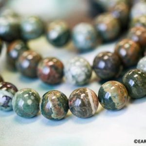 """Shop Rainforest Jasper Beads! M/ Rhyolite 12mm Smooth Round beads 16"""" strand Brown Green gemstone beads For jewelry making 