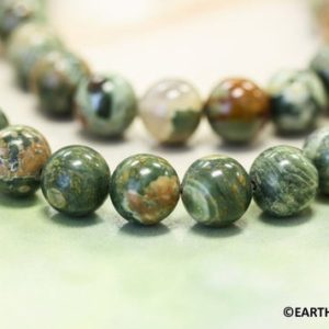 Shop Rainforest Jasper Beads! M-S/ Rhyolite 8mm/ 6mm/ 4mm Round loose beads strand 15.5 inches long  Natural Genuine  green with brown Rhyolite beads Not Dyed | Natural genuine round Rainforest Jasper beads for beading and jewelry making.  #jewelry #beads #beadedjewelry #diyjewelry #jewelrymaking #beadstore #beading #affiliate #ad