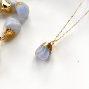 Shop Blue Lace Agate Pendants! Raw Blue Lace Agate pendant, Dainty gold chrystal necklace, Birthday Gift, Raw healing crystal necklace, Gift for her,Rough natural gemstone | Natural genuine Blue Lace Agate pendants. Buy crystal jewelry, handmade handcrafted artisan jewelry for women.  Unique handmade gift ideas. #jewelry #beadedpendants #beadedjewelry #gift #shopping #handmadejewelry #fashion #style #product #pendants #affiliate #ad