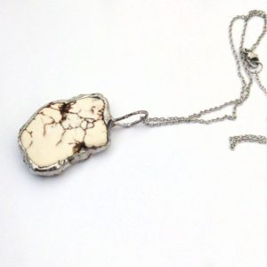 Shop Howlite Necklaces! Raw Gemstone Necklace, Druzy Howlite Necklace, White Natural Stone Necklace   Natural genuine Howlite necklaces. Buy crystal jewelry, handmade handcrafted artisan jewelry for women.  Unique handmade gift ideas. #jewelry #beadednecklaces #beadedjewelry #gift #shopping #handmadejewelry #fashion #style #product #necklaces #affiliate #ad
