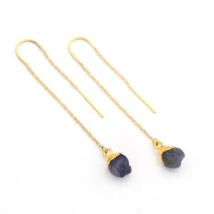 Shop Iolite Earrings! Raw Iolite Earrings, Water Sapphire Threaders, Stone Thread Through Earrings, Raw Crystal Threaders, Natural Gemstone Earrings, TH-N | Natural genuine Iolite earrings. Buy crystal jewelry, handmade handcrafted artisan jewelry for women.  Unique handmade gift ideas. #jewelry #beadedearrings #beadedjewelry #gift #shopping #handmadejewelry #fashion #style #product #earrings #affiliate #ad