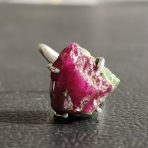 Raw Ruby Silver Ring, Natural Uncut Crystal, Ruby Coffin Ring, Artisan Rough Hexagon Ring, Septum, Antique Boho Jewelry, Raw Crystal Ring | Natural genuine Gemstone rings, simple unique handcrafted gemstone rings. #rings #jewelry #shopping #gift #handmade #fashion #style #affiliate #ad