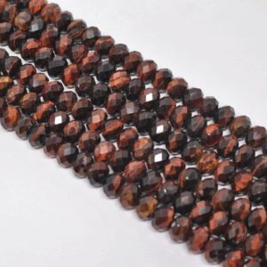 Shop Tiger Eye Rondelle Beads! Red Faceted Tiger Eye Rondelle Bead Strand (15.5 Inches Long) | Natural genuine rondelle Tiger Eye beads for beading and jewelry making.  #jewelry #beads #beadedjewelry #diyjewelry #jewelrymaking #beadstore #beading #affiliate #ad