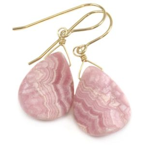 Pink Rhodochrosite Earrings Smooth Natural Teardrop Matte Curved Sterling Silver Or 14k Solid Gold Or Filled Natural Earthy Pink Simple Drop | Natural genuine Rhodochrosite earrings. Buy crystal jewelry, handmade handcrafted artisan jewelry for women.  Unique handmade gift ideas. #jewelry #beadedearrings #beadedjewelry #gift #shopping #handmadejewelry #fashion #style #product #earrings #affiliate #ad