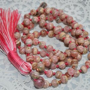 Shop Rhodochrosite Necklaces! Aaa Grade Rhodochrosite Knotted Mala Bead Fnecklace Or Heart Chakra, Unconditional Love, Rhodochrosite Jewelry, Self-worth, Emotional Stress | Natural genuine Rhodochrosite necklaces. Buy crystal jewelry, handmade handcrafted artisan jewelry for women.  Unique handmade gift ideas. #jewelry #beadednecklaces #beadedjewelry #gift #shopping #handmadejewelry #fashion #style #product #necklaces #affiliate #ad