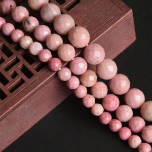 Shop Rhodonite Faceted Beads! Rhodonite Faceted Beads, Natural Gemstone Beads, Round Stone Beads, 4mm 6mm 8mm 10mm 12mm 15'' | Natural genuine faceted Rhodonite beads for beading and jewelry making.  #jewelry #beads #beadedjewelry #diyjewelry #jewelrymaking #beadstore #beading #affiliate #ad