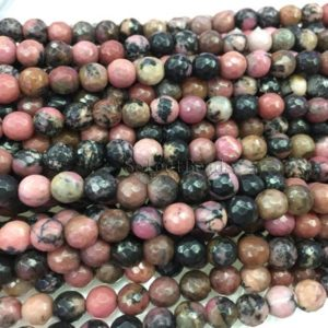 black line faceted  rhodonite beads – pink semi precious stones – faceted gemstone beads –  jewelry beads -pink beads -15inch | Natural genuine beads Gemstone beads for beading and jewelry making.  #jewelry #beads #beadedjewelry #diyjewelry #jewelrymaking #beadstore #beading #affiliate #ad