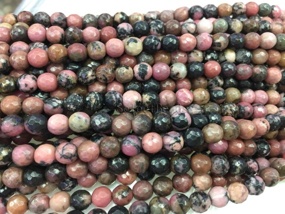 Black Line Faceted  Rhodonite Beads - Pink Semi Precious Stones - Faceted Gemstone Beads -  Jewelry Beads -pink Beads -15inch