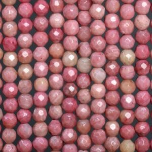 Genuine Natural Haitian Flower Rhodonite Loose Beads Faceted Round Shape 4mm | Natural genuine faceted Rhodonite beads for beading and jewelry making.  #jewelry #beads #beadedjewelry #diyjewelry #jewelrymaking #beadstore #beading #affiliate #ad
