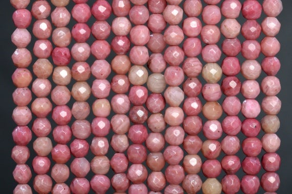 Genuine Natural Haitian Flower Rhodonite Loose Beads Faceted Round Shape 4mm