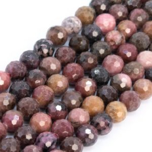 Shop Rhodonite Faceted Beads! Genuine Natural Multicolor Rhodonite Loose Beads Grade A Micro Faceted Round Shape 6mm | Natural genuine faceted Rhodonite beads for beading and jewelry making.  #jewelry #beads #beadedjewelry #diyjewelry #jewelrymaking #beadstore #beading #affiliate #ad