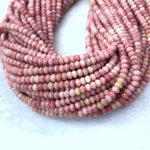 Shop Rhodonite Faceted Beads! Tiny Pink Rhodonite Rondelle Micro Faceted Beads 4×2.5mm Small Natural Pink Gemstone Beads Pink Delicate Semi Precious Spacer Beads | Natural genuine faceted Rhodonite beads for beading and jewelry making.  #jewelry #beads #beadedjewelry #diyjewelry #jewelrymaking #beadstore #beading #affiliate #ad
