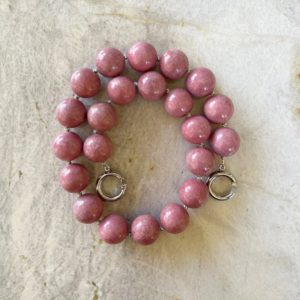 Shop Rhodonite Necklaces! Pink Rhodonite 18mm Round Beaded Necklace with Interlocking Ring Clasp | Natural genuine Rhodonite necklaces. Buy crystal jewelry, handmade handcrafted artisan jewelry for women.  Unique handmade gift ideas. #jewelry #beadednecklaces #beadedjewelry #gift #shopping #handmadejewelry #fashion #style #product #necklaces #affiliate #ad