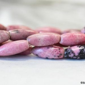 """Shop Rhodonite Bead Shapes! S/ Rhodonite 6x15mm/ 5x12mm/ 4x6mm Oval Rice Loose beads 15.5"""" strand Natural Pink and Black polished gemstone beads For jewelry making 