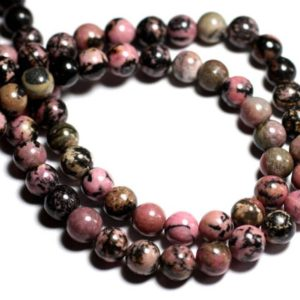 Shop Rhodonite Bead Shapes! Wire 39cm env – stone beads – pink and black Rhodonite 46pc balls 8 mm | Natural genuine other-shape Rhodonite beads for beading and jewelry making.  #jewelry #beads #beadedjewelry #diyjewelry #jewelrymaking #beadstore #beading #affiliate #ad