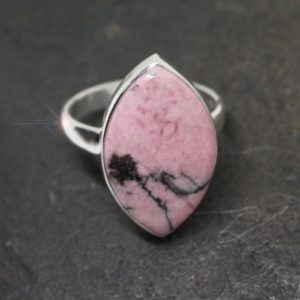 Shop Rhodonite Rings! Evening Rose – Rhodonite Sterling Silver Ring – Size 8.5 | Natural genuine Rhodonite rings, simple unique handcrafted gemstone rings. #rings #jewelry #shopping #gift #handmade #fashion #style #affiliate #ad