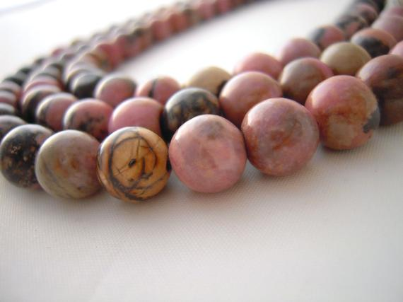 Rhodonite Beads, 8mm Round Beads, 8mm Beads, Pink Rhodonite, Pink Rhodonite Beads, Rhodonite Matrix, Beads For Jewelry Making, Pink Beads