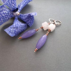 Shop Rose Quartz Earrings! long earrings rose Quartz, lavender jadeite, rose gold, earrings dangle natural stones. special for her for women.   Natural genuine Rose Quartz earrings. Buy crystal jewelry, handmade handcrafted artisan jewelry for women.  Unique handmade gift ideas. #jewelry #beadedearrings #beadedjewelry #gift #shopping #handmadejewelry #fashion #style #product #earrings #affiliate #ad
