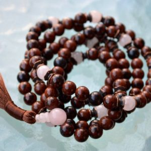 Shop Mahogany Obsidian Necklaces! Rose Quartz Mala Beads, Mahogany Obsidian Healing Jewelry, Buddhist Necklace, Knotted Prayer Beads Japa Mala For Healing Detox Stress Relief | Natural genuine Mahogany Obsidian necklaces. Buy crystal jewelry, handmade handcrafted artisan jewelry for women.  Unique handmade gift ideas. #jewelry #beadednecklaces #beadedjewelry #gift #shopping #handmadejewelry #fashion #style #product #necklaces #affiliate #ad