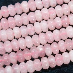 Shop Rose Quartz Rondelle Beads! Genuine Natural Pink Rose Quartz Loose Beads Rondelle Shape 10x6MM | Natural genuine rondelle Rose Quartz beads for beading and jewelry making.  #jewelry #beads #beadedjewelry #diyjewelry #jewelrymaking #beadstore #beading #affiliate #ad