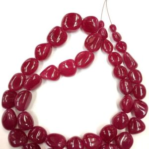 "Shop Ruby Chip & Nugget Beads! Natural Ruby Smooth Nuggets Beads Ruby Nugget Shape Beads Jewelry Making Ruby Beads Wholesale Ruby Beads Top Quality 18"" Strand 
