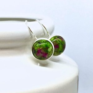 Shop Ruby Zoisite Earrings! Ruby In Zoisite Gemstone Earrings, Lever-Back, Sterling Silver .925, Semi-Precious Stone, 12mm, Round, Leverback, Ruby Fuchsite | Natural genuine Ruby Zoisite earrings. Buy crystal jewelry, handmade handcrafted artisan jewelry for women.  Unique handmade gift ideas. #jewelry #beadedearrings #beadedjewelry #gift #shopping #handmadejewelry #fashion #style #product #earrings #affiliate #ad